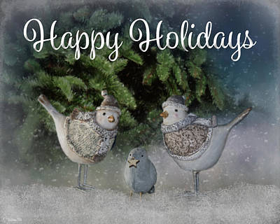 Photograph - Snow Birds - Happy Holidays by Teresa Wilson