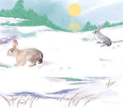 Painting - Snow Bunnies by Belinda Threeths