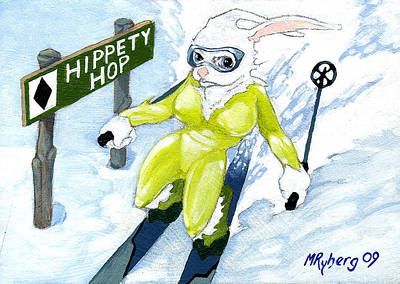 Snow Bunny Skiing Art Print by Mark Ryberg