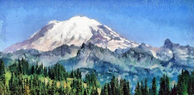 Rock Painting - Snow Capped Mountain by Russ Harris