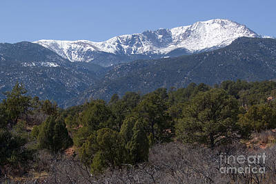 Steven Krull Royalty-Free and Rights-Managed Images - Snow capped Pikes Peak by Steven Krull
