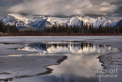 Photograph - Snow Capped Reflections In Vermilion Lakes  by Adam Jewell