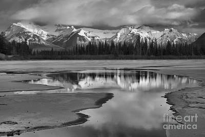 Photograph - Snow Capped Reflections In Vermilion Lakes Black And White by Adam Jewell
