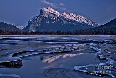 Photograph - Snow Capped Rundle Reflections by Adam Jewell