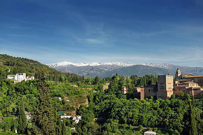 Architecture Photograph - Snow Capped Sierra Nevada Mountains Between Generalife And Alham by Reimar Gaertner
