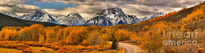 Photograph - Snow Capped Teton Over Oxbow by Adam Jewell