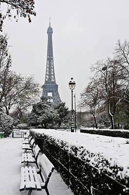 Snow Carpets Benches And Eiffel Tower Art Print