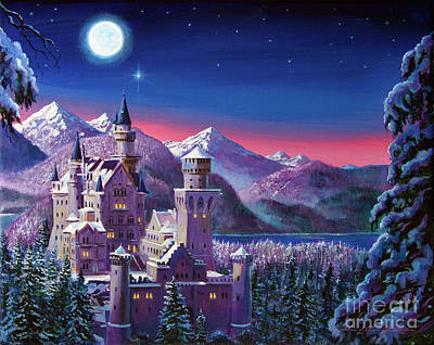 Fantasy Painting - Snow Castle by David Lloyd Glover