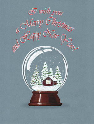 Painting - Snow Christmas Globe by Masha Batkova