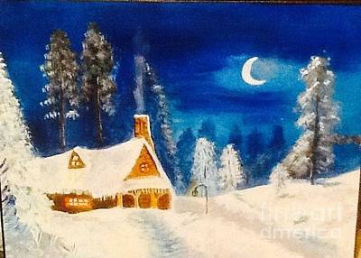 Painting - Snow Cottage by Audrey Pollitt