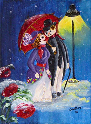 Painting - Snow Couple by Quwatha Valentine