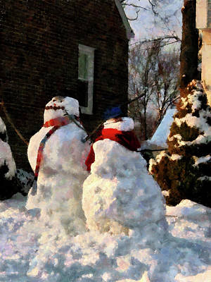 Snowwoman Photograph - Snow Couple by Susan Savad