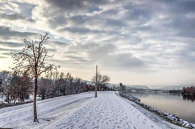 Snow Covered Bike Path Art Print