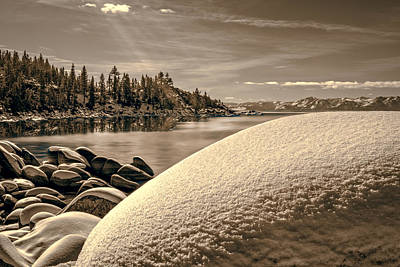 Photograph - Snow Covered Boulders by Maria Coulson