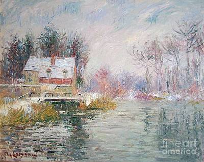 Covered Bridge Painting - Snow Covered Bridge by MotionAge Designs