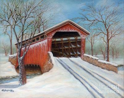 Painting - Snow Covered Bridge by Lora Duguay