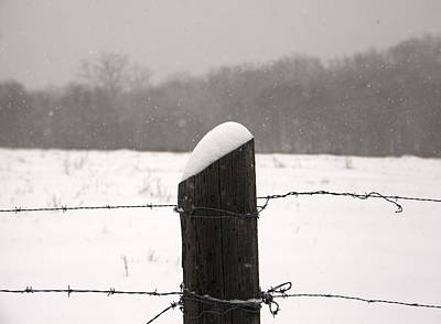 Photograph - Snow Covered Fence Post by Scott Sanders