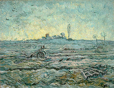 Wagon Painting - Snow-covered Field With A Harrow, After Millet by Vincent van Gogh