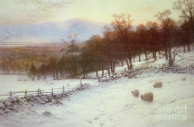 Snow Covered Fields With Sheep Art Print by Joseph Farquharson