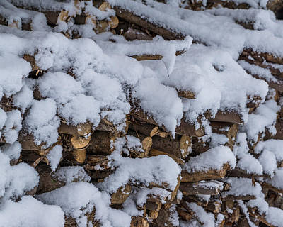 Photograph - Snow Covered Firewood by Chris Bordeleau