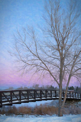 Digital Art - Snow Covered Footbridge At Early Sunrise With Tree In Foreground by Barbara Rogers
