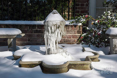 Photograph - Snow Covered Fountain by Dale Powell