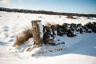 Photograph - Snow Covered Gatepost by Helen Northcott