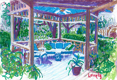 Painting - Snow Covered Gazebo by Candace Lovely