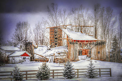 Photograph - Snow Covered Michigan Barns by LeeAnn McLaneGoetz McLaneGoetzStudioLLCcom