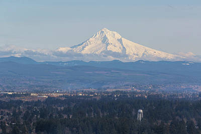Photograph - Snow Covered Mount Hood With Blue Sky by Jit Lim