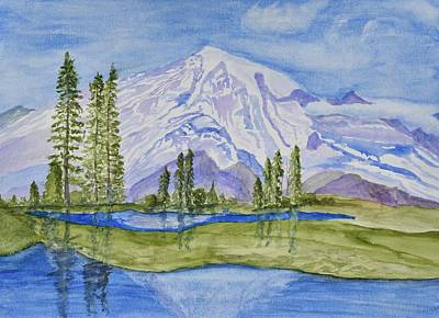 Snow Covered Pine Trees Painting - Snow Covered Mountain by Linda Brody