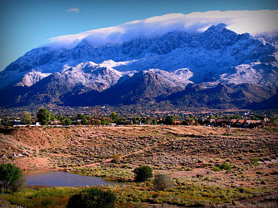 Snow Covered Mountains Above The Pond Art Print