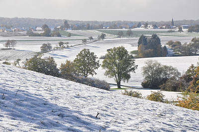 Photograph - Snow Covered October Landscape , Autumn Leaves by Martin Stankewitz