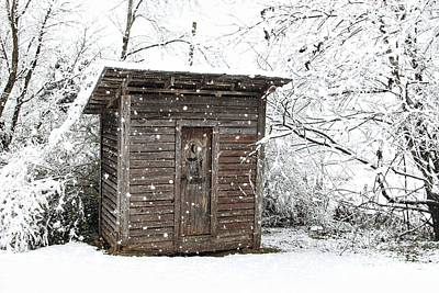 Photograph - Snow Covered Outhouse by Benanne Stiens