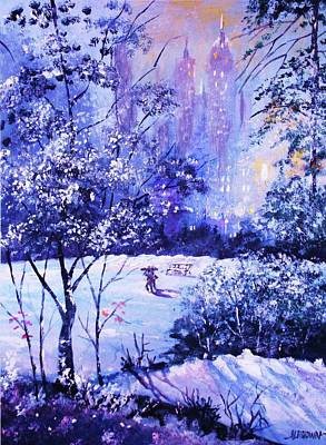 Painting - Snow Covered Park by Al Brown