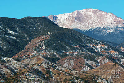 Steven Krull Royalty-Free and Rights-Managed Images - Snow covered Pikes Peak  by Steven Krull