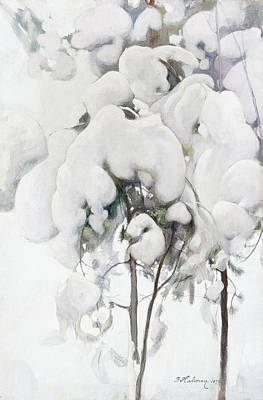 Pekka Wall Art - Painting - Snow-covered Pine Saplings by Pekka Halonen