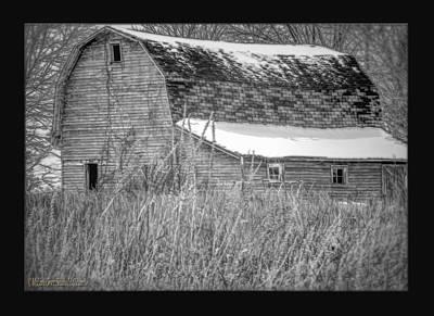 Winter Photograph - Snow Covered Red Barn Black And White by LeeAnn McLaneGoetz McLaneGoetzStudioLLCcom