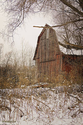 Photograph - Snow Covered Red Michigan Barns by LeeAnn McLaneGoetz McLaneGoetzStudioLLCcom