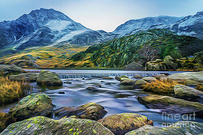 Mixed Media - Snow Covered Tryfan by Ian Mitchell