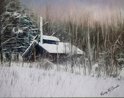 Digital Art - Snow Covered Vermont Sugar Shack.  by Rusty R Smith