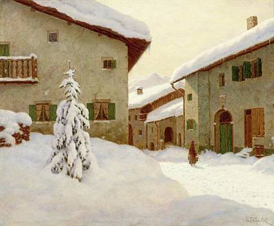 Snow Covered Village In The Winter Art Print