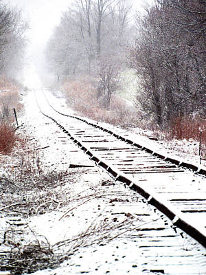 Photograph - Snow Covered Wisconsin Railroad Tracks by Ron Tackett