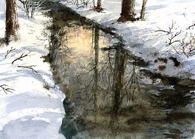 Art Print featuring the painting Snow Creek by Andrew King