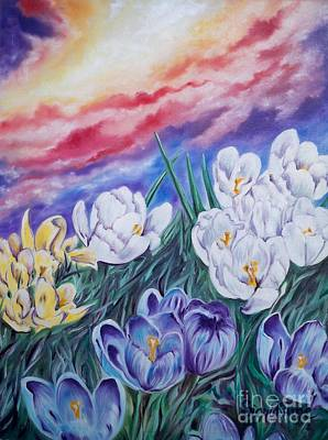 Painting - Flygende Lammet Productions      Snow Crocus by Sigrid Tune