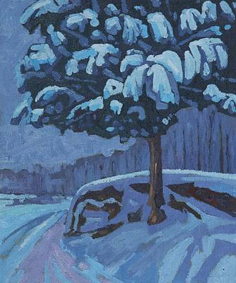 Painting - Snow Day Cedar by Phil Chadwick
