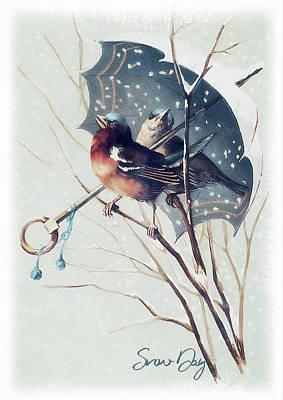 Wall Art - Mixed Media - Snow Day Songbirds - Robin by Amanda Lakey