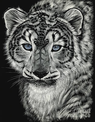Snow Dragon Leopard Art Print