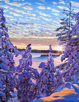 Snow Scene Painting - Snow Draped Pines by David Lloyd Glover