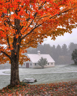 Farm Scene Photograph - Snow Dust Over Autumn Foliage by Joann Vitali